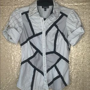 Bebe Black and White Button Up Top